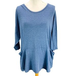 LOGO Lori Goldstein Heather Blue Tunic Top Blouse
